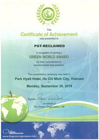 Green World Award Certificate 2019