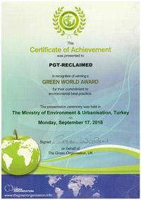 Certificate of Achievement Green World 2018