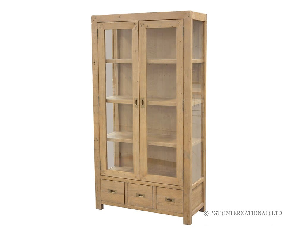 rustic post and rail display cabinet
