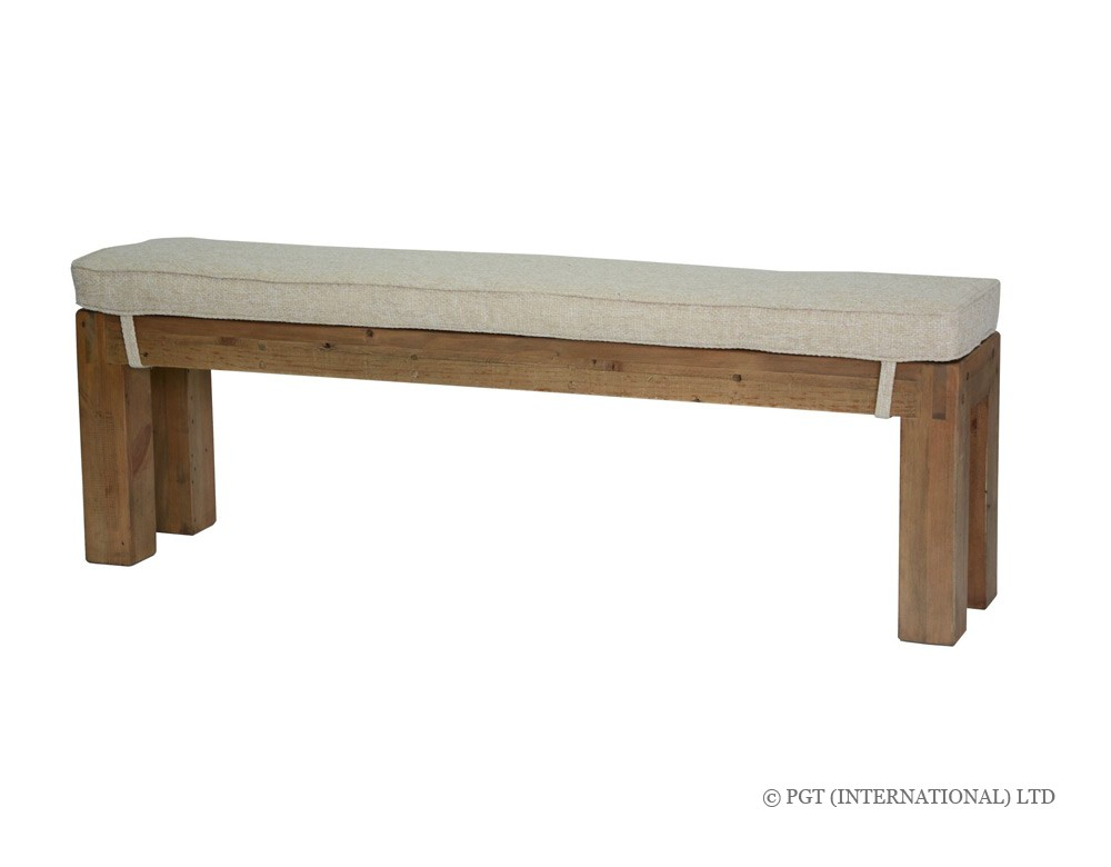 rustic post and rail cushion bench