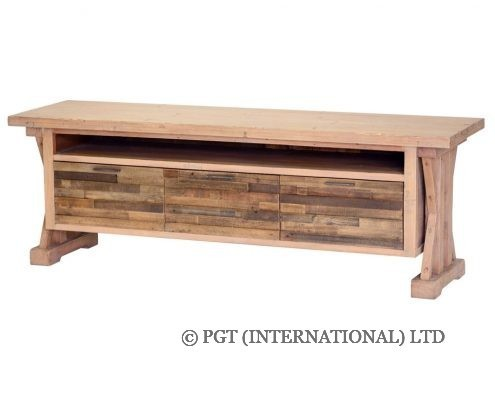 TuscanSpring Collection recycled wood low tv cabinet